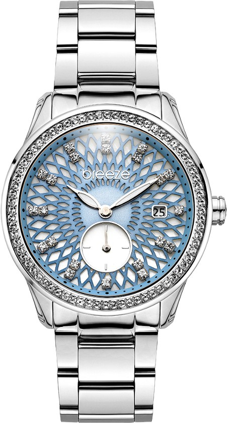 Breeze ατσάλινο γυναικείο ρολόι με Swarovski στην στεφάνη και το καντράν  a76d8d3b9d0
