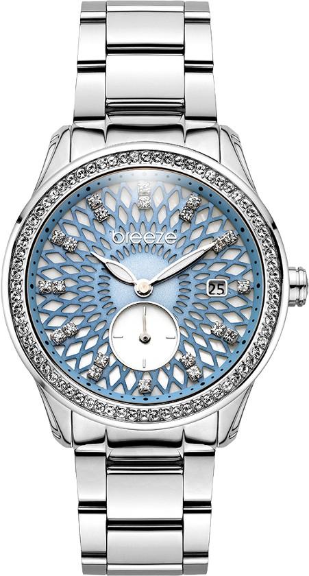 Breeze ατσάλινο γυναικείο ρολόι με Swarovski στην στεφάνη και το καντράν  3bbd66789f4