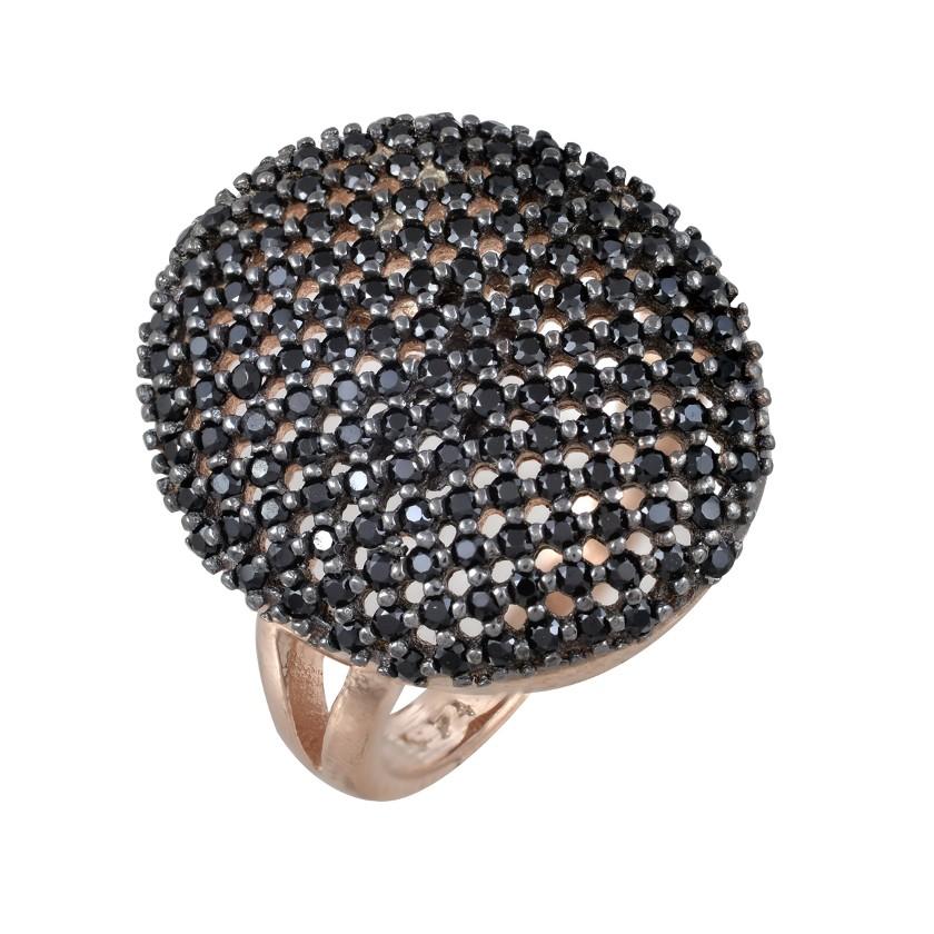 ΔΑΧΤΥΛΙΔΙΑ   Δαχτυλίδι ασημένιο 925 με ροζ επιχρύσωμα και μαύρα ζιργκόν e49b4c59d4b