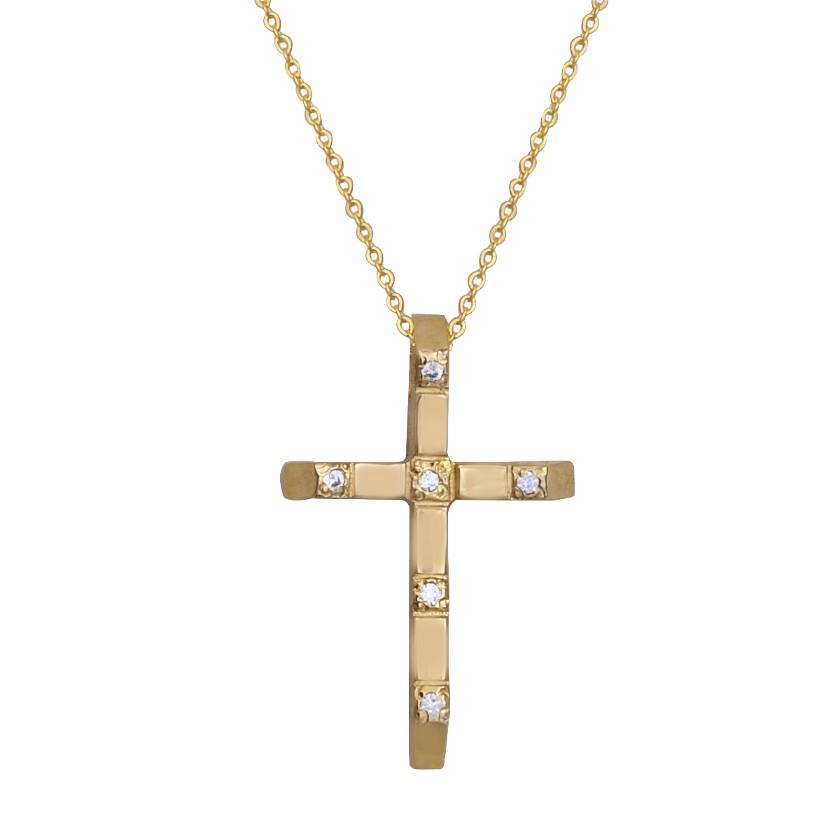 Σταυρός-αλυσίδα χρυσός 14Κ γυναικείος με κίτρινο επιχρύσωμα και λευκά  ζιργκόν  5fb0a377375