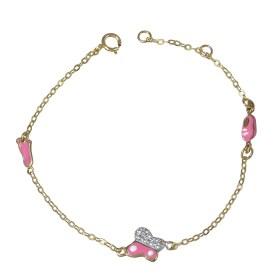 Βραχιόλι παιδικό χρυσό 14Κ με ροζ σμάλτο και λευκά ζιργκόν b277f5d5464